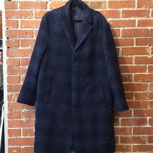 Zara Man Wool Blue Checkered Overcoat  size XL